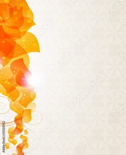 Beige background with orange petals pattern