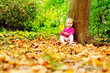 toddler in fall forest