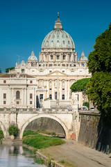 Roma, San Pietro cathedral with bridge and Tevere river
