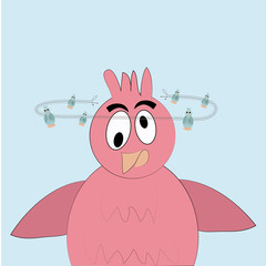 a stunned pink bird with big eyes in a blue background