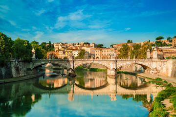 Roma, beautifull  view with Bridge and Tevere river