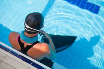 Female freediver at pool
