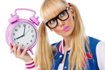Blonde girl with clock