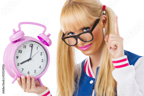 Student girl with clock