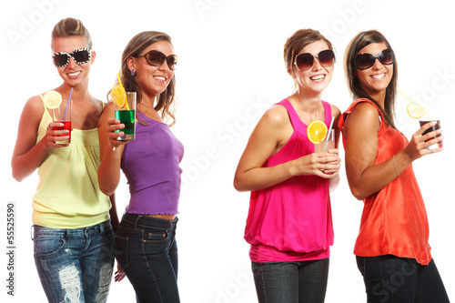 four girls fun with a drink, portrait in studio,