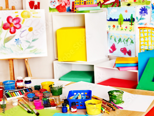 School interior with paint and crayon.