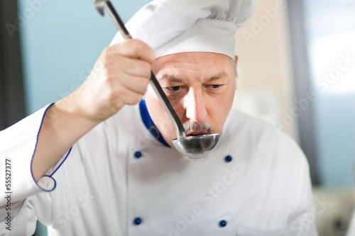 Chef working in his kitchen