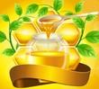 Баночка с медом и листьями мяты, иллюстрация
