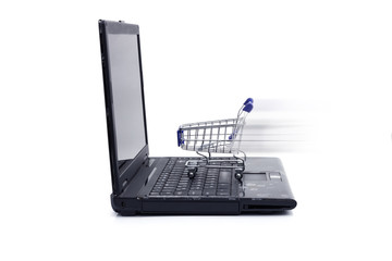 Laptop with small shopping cart