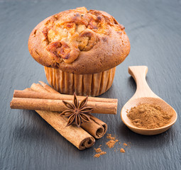 Delicious apple muffins with cinnamon