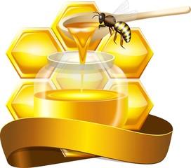 Медовые соты с баночкой меда