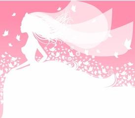 Девушка в белом свадебном платье