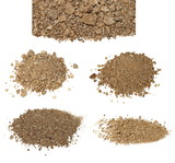 set pile dry dirt isolated on white background