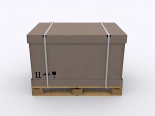 Karton auf Holz Palette