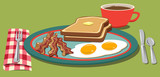 Eggs, bacon and toast on a plate with a cup of coffee
