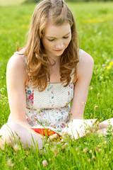 Buch lesen auf der Wiese