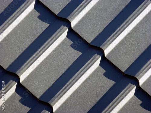 New blue grey roofing from stainless metal plate