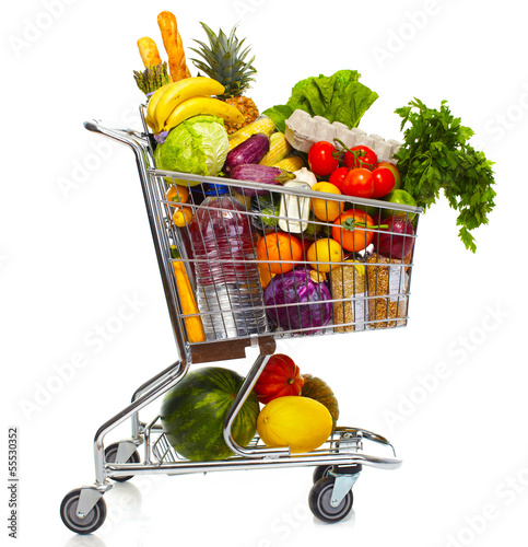 Full grocery cart. - 55530352