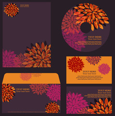 Floral orange-violet business template