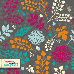 Beautiful bright floral seamless pattern with flowers and leaves