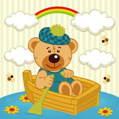 teddy bear on boat - vector illustration