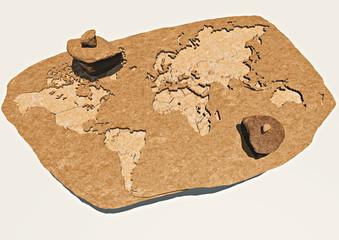 Planisfero mondo scolpito nella roccia, fossile