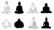 Buddha Black Vector Illustration Outline & Silhouettes