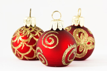 Christmas: Red and golden Christmas ornaments