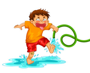 little mischievous boy playing with the water hose