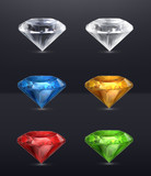 Gems set of vector icons, on black