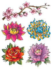 Tattoo Flower Set