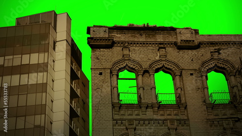 Modern and old Buildings Green Screen ChromaKey sky Background