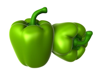 Two Fresh Green sweet pepper. Foods and Dishes Series.