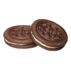 Oreo. Chocolate cookies with cream filling isolated