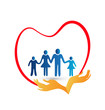 Family love protected by hands logo