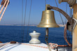 Brass bell on a sailing yacht