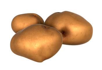 Three Fresh Brown potatos. Foods and Dishes Series.