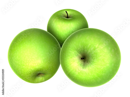 Three Fresh Yellow Green apples. Foods and Dishes Series.