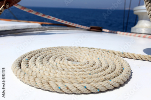 Sailing rope on board of a yacht