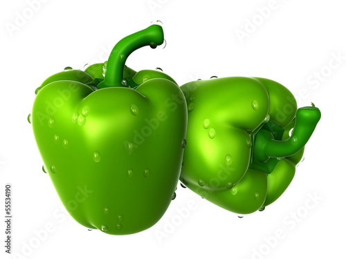 Two Green sweet pepper covered with Raindrops. Foods and Dishes