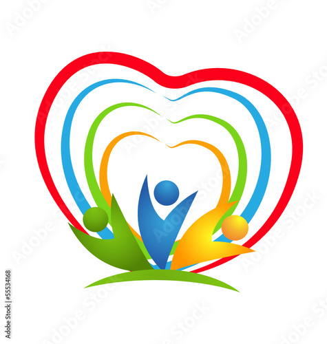 People heart connections logo vector