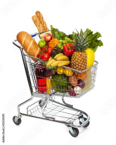 Keuken foto achterwand Boodschappen Full grocery cart.