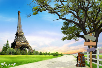 Eiffel Tower  Famous symbols of Paris  concept travel