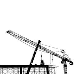 Cranes silhouette vector