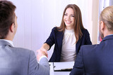 Job applicants having interview
