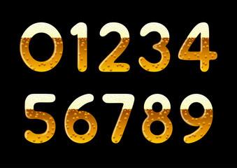 Beer numerical set. Vector numbers in form of beer