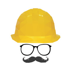 face and Yellow safety helmet vector