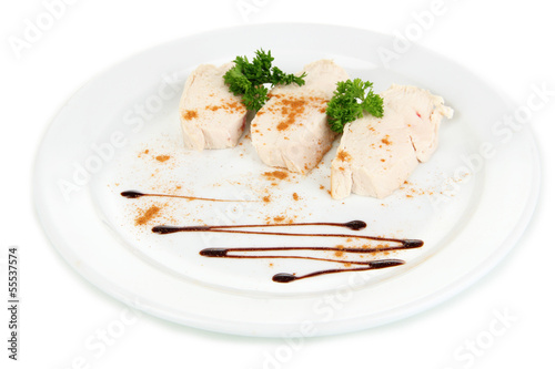Boiled chicken meat with paprika and sauce, isolated on white