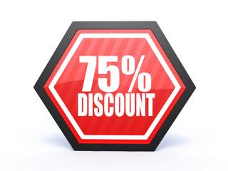 discount hexagon icon on white background