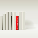Red book in row of white book, vector Eps10 image.